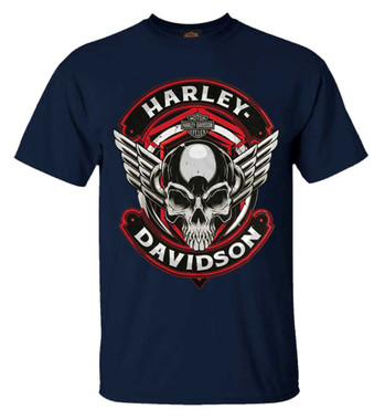 Harley-Davidson Men's Steel Winged Crew Neck Short Sleeve T-Shirt - Navy - Wisconsin Harley-Davidson