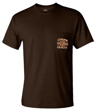 Harley-Davidson Men's Gritty B&S Chest Pocket Short Sleeve Tee - Dark Brown - Wisconsin Harley-Davidson