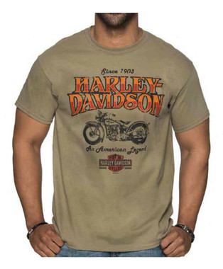 Harley-Davidson Men's Abyss Crew Neck Short Sleeve Cotton T-Shirt - Tan - Wisconsin Harley-Davidson