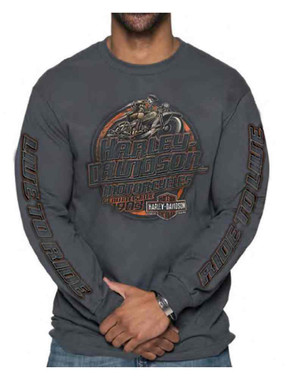 Harley-Davidson Men's Operative Long Sleeve Crew Neck Cotton Shirt, Charcoal - Wisconsin Harley-Davidson