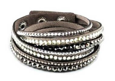 Women's Silver Studded with Bling Embellishment Gray Faux Suede Bracelet 84068 - Wisconsin Harley-Davidson