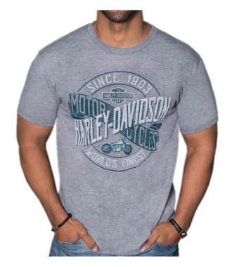 Harley-Davidson Men's Motorclub Short Sleeve Tri-Blend T-Shirt - Heather Gray - Wisconsin Harley-Davidson