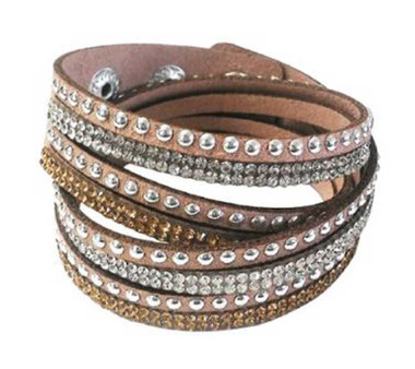 Women's Silver Studded with Bling Embellishment Brown Faux Suede Bracelet 84067 - Wisconsin Harley-Davidson
