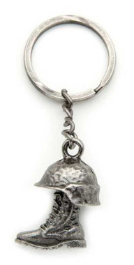 America Remembers Helmet & Boot Patriotic Metal Chain Keychain, Pewter 84201 - Wisconsin Harley-Davidson