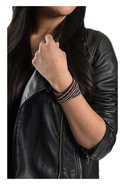 Women's Silver Studded with Bling Embellishment Red Faux Suede Bracelet 84074 - Wisconsin Harley-Davidson