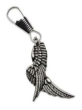 Unisex 3D Angel Wings Lobster Claw Clasp Zipper Pull, Pewter Color 61037 - Wisconsin Harley-Davidson