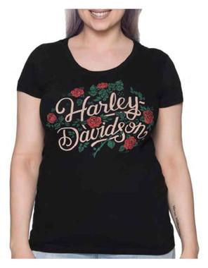 Harley-Davidson Women's Floral Divine Embellished Short Sleeve Tee - Black - Wisconsin Harley-Davidson
