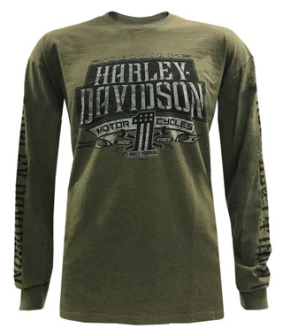 Harley-Davidson Men's Distressed Highmark Long Sleeve Shirt - Military Green - Wisconsin Harley-Davidson