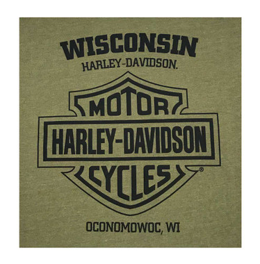 Harley-Davidson Men's Distressed Highmark Long Sleeve Shirt - Military Green - Wisconsin Harley-Davidson