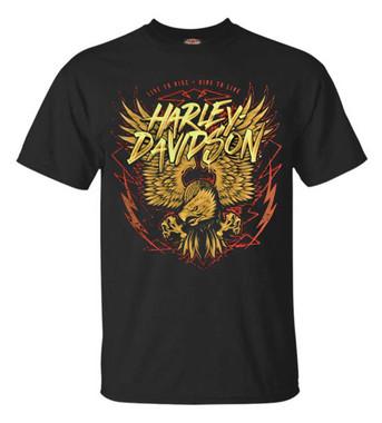 Harley-Davidson Men's Eagle Lightning Short Sleeve Crew Neck T-Shirt - Black - Wisconsin Harley-Davidson