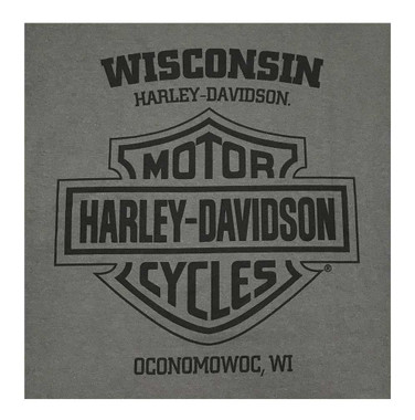 Harley-Davidson Men's Wille G Skull Chest Pocket Short Sleeve Tee, Charcoal Gray - Wisconsin Harley-Davidson