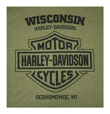 Harley-Davidson Men's Soaring Eagle Crew Neck Short Sleeve Tee - Military Green - Wisconsin Harley-Davidson