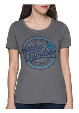 Harley-Davidson Women's Oil Surge Embellished Short Sleeve Poly-Blend Tee - Gray - Wisconsin Harley-Davidson
