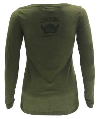 Harley-Davidson Women's Fire Forded Long Sleeve Slim Fit Shirt - Military Green - Wisconsin Harley-Davidson
