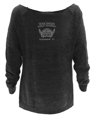 Harley-Davidson Women's Blissful Long Sleeve Raglan Cold Shoulder Pullover, Gray - Wisconsin Harley-Davidson