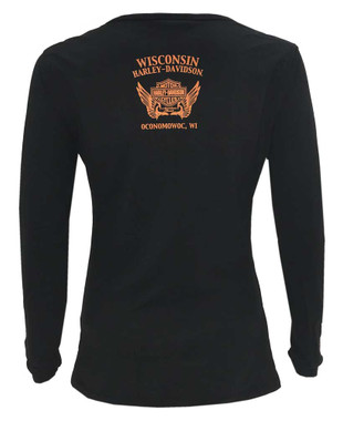 Harley-Davidson Women's Twirl H-D Long Sleeve Poly-Blend Henley Tee - Black - Wisconsin Harley-Davidson