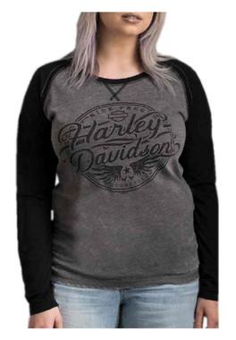 Harley-Davidson Women's Ink Stamp Long Sleeve Raglan Shirt, Gray & Black - Wisconsin Harley-Davidson