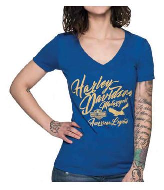 Harley-Davidson Women's Infinite V-Neck Short Sleeve Slim Fit Tee - Royal Blue - Wisconsin Harley-Davidson