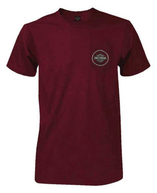 Harley-Davidson Men's Chain Link B&S Chest Pocket Short Sleeve T-Shirt - Maroon - Wisconsin Harley-Davidson