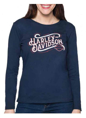 Harley-Davidson Women's Honorable Retro Long Sleeve Cotton Shirt - Navy - Wisconsin Harley-Davidson