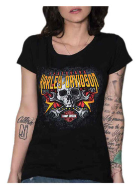 Harley-Davidson Women's Steel Roses Round Neck Short Sleeve Tee - Black - Wisconsin Harley-Davidson