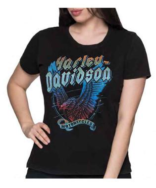 Harley-Davidson Women's Vengeance Short Sleeve Cotton Tee w/ Black Acid Wash - Wisconsin Harley-Davidson
