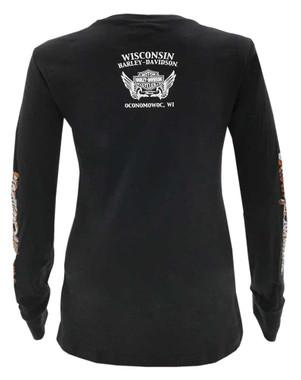 Harley-Davidson Women's Heavy Handed B&S Long Sleeve Cotton Shirt - Black - Wisconsin Harley-Davidson
