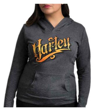 Harley-Davidson Women's Nostalgic Harley Pullover Hoodie - Dark Heather Gray - Wisconsin Harley-Davidson