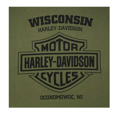 Harley-Davidson Men's Valor Skull Button Pullover Fleece Sweatshirt - Green - Wisconsin Harley-Davidson