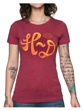 Harley-Davidson Women's Chasing Swirls Crew Neck Short Sleeve Slim Fit Tee - Red - Wisconsin Harley-Davidson