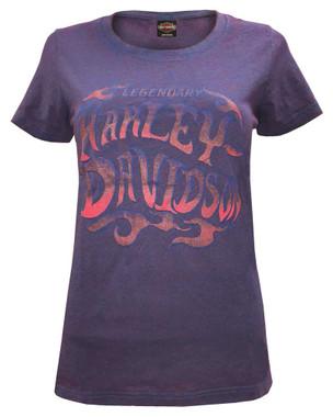 Harley-Davidson Women's Wrath Scoop Neck Short Sleeve Tee - Purple Wash - Wisconsin Harley-Davidson