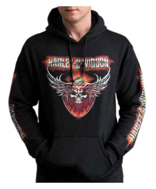 Harley-Davidson Men's Flaming Chrome Pullover Poly-Blend Hoodie - Black - Wisconsin Harley-Davidson