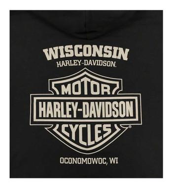 Harley-Davidson Men's Flaming Chrome Pullover Poly-Blend Hoodie - Black - Wisconsin Harley-Davidson