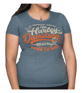 Harley-Davidson Women's Salvation Short Sleeve Crew Neck Slim Fit Tee - Indigo - Wisconsin Harley-Davidson