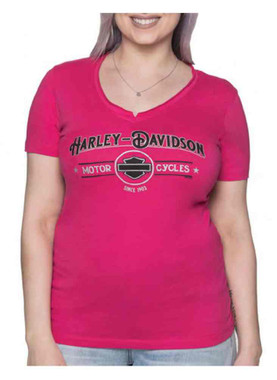 Harley-Davidson Women's Echo Metallic Short Sleeve V-Neck Tee - Bright Pink - Wisconsin Harley-Davidson