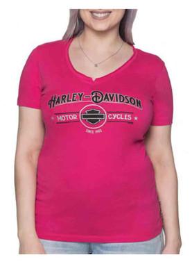 Harley-Davidson Women's Echo Metallic Short Sleeve V-Neck Tee - Bright Pink - Wisconsin Harley-Davidson