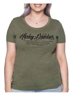 Harley-Davidson Women's Metal Merchant Scoop Neck Short Sleeve Tee - Olive - Wisconsin Harley-Davidson