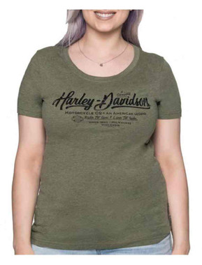Harley-Davidson Women's Metal Merchant Scoop Neck Short Sleeve Tee - Olive - Wisconsin Harley-Davidson