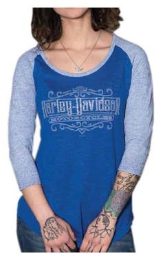 Harley-Davidson Women's Silver Line 3/4 Sleeve Raglan Tee, Two-Tone Blue - Wisconsin Harley-Davidson