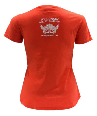 Harley-Davidson Women's Rise Of The Wings Embroidered Short Sleeve Tee - Orange - Wisconsin Harley-Davidson