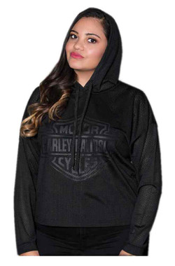 Harley-Davidson Women's Bar & Shield Cool Air Breathable Mesh Hoodie - Black - Wisconsin Harley-Davidson