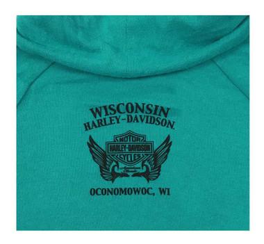 Harley-Davidson Women's Dynamic Long Sleeve Funnel Neck Shirt - Turquoise - Wisconsin Harley-Davidson