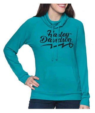 Harley-Davidson Women's Dynamic Long Sleeve Funnel Neck Shirt - Turquoise - Wisconsin Harley-Davidson