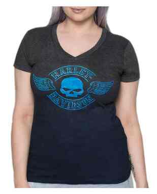 Harley-Davidson Women's Skull & Wings V-Neck Short Sleeve Tee, Navy & Gray Ombre - Wisconsin Harley-Davidson