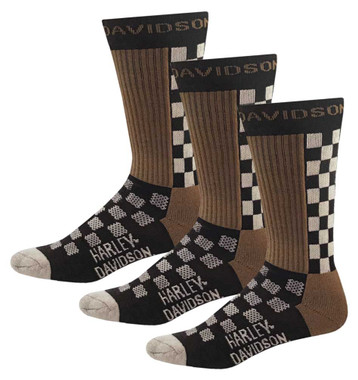 Harley-Davidson Men's Checkered Vented Riding Socks, 3 Pairs D99233470-001 - Wisconsin Harley-Davidson