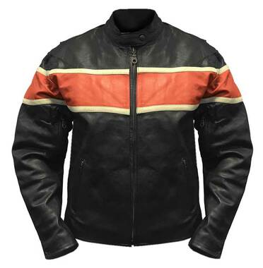Redline Men's Orange Stripe Cowhide Leather Motorcycle Jacket, Black M-3200 - Wisconsin Harley-Davidson