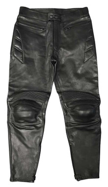Redline Men's Protective Riding Genuine Leather Motorcycle Pants - Black M-3513 - Wisconsin Harley-Davidson