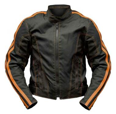 Redline Men's Cordura 600D Waterproof Riding Jacket - Black & Orange M-4301 - Wisconsin Harley-Davidson