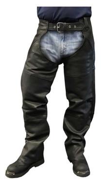 Redline Men's Classic Premium Cowhide Leather Motorcycle Chaps, Black M-1450 - Wisconsin Harley-Davidson