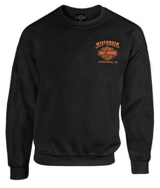 Harley-Davidson Men's Custom Freedom Fleece Pullover Crew Sweatshirt - Black - Wisconsin Harley-Davidson